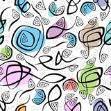 Chaotic lines and color spots seamless pattern Stock Photo