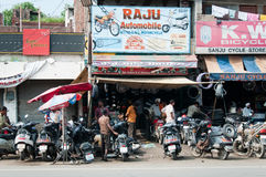 Chaotic motorbike repair service work, India Royalty Free Stock Images