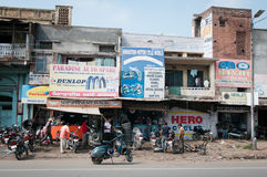 Chaotic motorbike repair service work, India Royalty Free Stock Photography