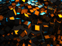 Chaotic orange and blue cubes particles abstract background. 3d render illustration stock illustration