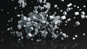 Chaotic parallelepiped particles abstract 3D render. Chaotic parallelepiped particles with reflection floor. Abstract 3D rendering Stock Photos