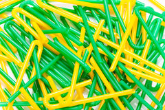 Chaotic pile cocktail straws on white background Royalty Free Stock Photos