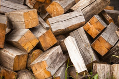 Chaotic pile of firewood logs lying Royalty Free Stock Image