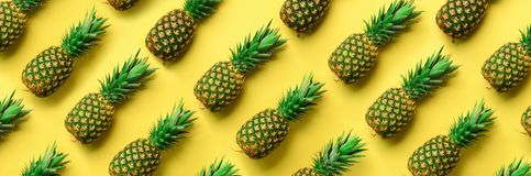 Chaotic pineapple pattern for minimal style. Top View. Pop art design, creative concept. Copy Space. Banner. Fresh stock image