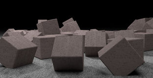 Chaotic placed concrete cubes with strange sign Royalty Free Stock Photos
