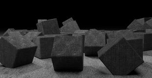 Chaotic placed cubes from dark concrete Royalty Free Stock Photo