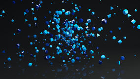 Chaotic Polygon blue particles abstract 3D render. Chaotic Polygon blue particles with reflection floor. Abstract 3D rendering Royalty Free Stock Image