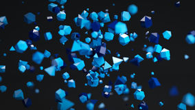 Chaotic Polygon particles abstract 3D render. Blue chaotic Polygon particles. Abstract 3D rendering with shallow DOF Royalty Free Stock Images