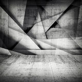 Chaotic polygonal relief pattern on concrete wall. Abstract dark interior background, chaotic polygonal relief pattern on wall and concrete floor. 3d Stock Photo