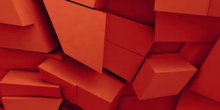 Chaotic red polygonal blocks pattern, 3d. Abstract digital background, chaotic red polygonal blocks pattern, 3d illustration Royalty Free Stock Photos
