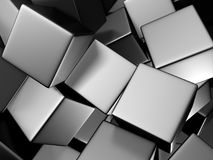 Chaotic silver metallic cubes digital background Stock Image