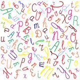 Chaotic spacing of the letters of the English alphabet. stock illustration