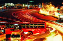 Traffic in Bangkok. Chaotic traffic with busses in Bangkok, Thailand stock photo