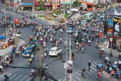 Chaotic traffic in Saigon Royalty Free Stock Photo