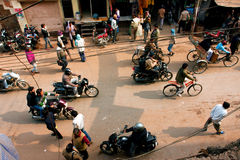 Chaotic traffic of vehicles and pedestrians on the street in ancient indian city Stock Photos