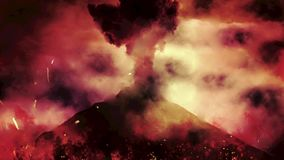 Chaotic Volcanic Eruption with Fire and Flames From a Volcano stock footage