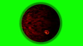Chaotic Volcanic Planet on a Green Screen Background. Volcanic Planet on a Green Screen Background stock video