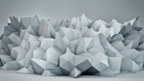 Chaotic white surface 3D render Stock Photography
