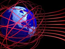 Chaotic wires around globe. 3D rendered presentation image with globe and shiny red rings Royalty Free Stock Photos