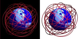 Chaotic wires around globe. 3D rendered presentation image with globe and shiny red rings on original black background and isolated on white Stock Image