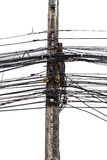 Chaotic wires on electricity post Stock Photography