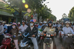 Chaotical traffic in ho chi minh,vietnam Royalty Free Stock Image