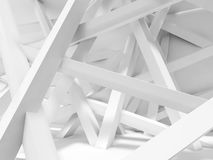 Chaotically oriented beams in empty room. 3d Royalty Free Stock Images
