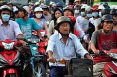 Chaotically scouter traffic in Ho Chi Minh city, Vietnam Royalty Free Stock Photo