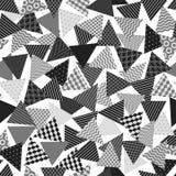 Chaotisch gevormd driehoeken geometrisch naadloos patroon in zwart-wit, vector vector illustratie