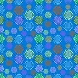 Chaotisch kleurrijk naadloos patroon op blauwe achtergrond Stock Afbeeldingen