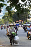 Chaotisch verkeer in Saigon, Vietnam Royalty-vrije Stock Fotografie