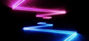 Chaotischer Zusammenfassungs-virtueller Leuchtstoff dunkler Schmutz-konkreter Neontunnel futuristisches Raumschiff-Stadium Sci FI stock abbildung