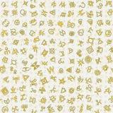 Chaotyczni złoci antyczni symbole czarują magicznych znaków bezszwowego deseniowego tło ilustracja wektor