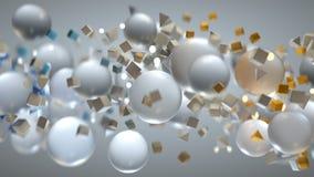 Chaotyczny strumień latać geometrycznych kształty 3D odpłaca się obraz stock