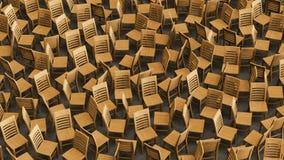 Chaotyczny szyk Drewniani krzesła Stawia czoło Przypadkowych kierunki ilustracja wektor