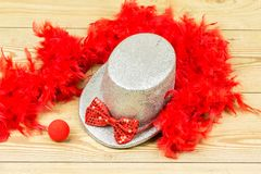Chapéu alto de prata, boa de pena macia vermelha, laço vermelho e clo vermelhos Foto de Stock Royalty Free