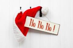 Chapéu & sinal de Santa Imagem de Stock Royalty Free
