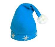 Chapéu azul do Natal Fotos de Stock