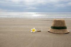 Chapéu com flor do frangipani e shell do mar na praia Fotos de Stock