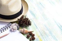Chapéu, conchas do mar e caderno de palha na tabela de madeira colorida w Imagens de Stock