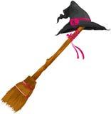 Chapéu da bruxa com vassoura Imagem de Stock Royalty Free