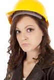 Chapéu da construção da mulher triste Foto de Stock Royalty Free