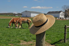 Chapéu de Amish em um cargo da cerca da exploração agrícola imagens de stock