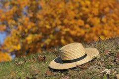 Chapéu de Amish que coloca sobre as folhas da queda imagem de stock royalty free