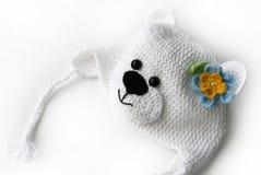 Chapéu de confecção de malhas branco da coruja Fotografia de Stock