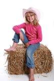 Chapéu de cowboy cor-de-rosa em uma menina foto de stock