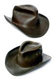 Chapéu de cowboy de couro velho áspero dos aventureiros Fotografia de Stock