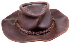Chapéu de cowboy marrom de couro velho Imagem de Stock Royalty Free