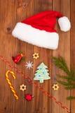 Chapéu de decorações de Santa Claus Christmas Imagem de Stock