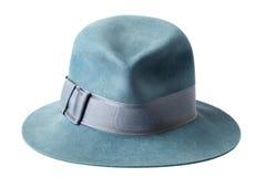 Chapéu de feltro masculino azul isolado no branco Foto de Stock Royalty Free